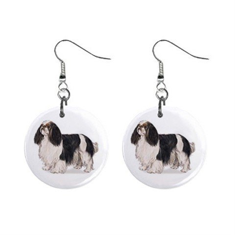 English Toy Spaniel  Dog Pet Lover Jewelry Button Earrings 13018522