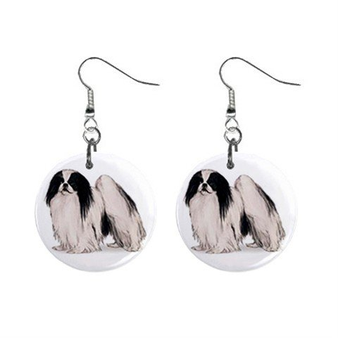 Japanese Chin Dog Pet Lover Jewelry Button Earrings 13018528