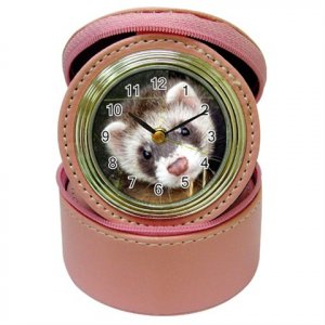 Ferret Pet Lover Jewelry Case Clock Pink 17473627