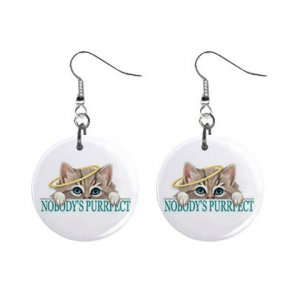 "New Kitten Cat Nobody Purrfect 1"" Round Button Dangle Earrings Jewelry 13020081"