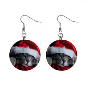 "New Christmas Kitten 1"" Round Button Dangle Earrings Jewelry 13164145"
