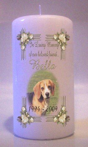 Custom PET MEMORY PHOTO White Roses frame 6 inch Pillar Candle Memorial