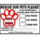Set of 4 Emergency Pet Window Stickers decals labels