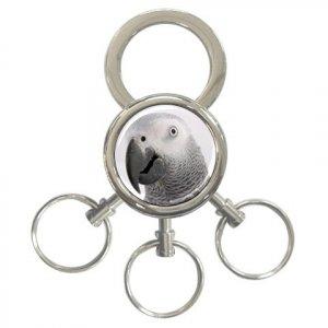 AFRICAN GREY Bird Pet Lover 3 Ring Key Chain Keychain17476847