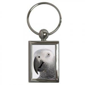 AFRICAN GREY Bird Pet Lover Key Chain Rectangle 17476852