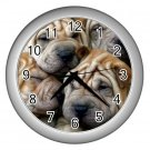 CHINESE SHAR PEI Dog Pet Lover Wall Clock Silver 14172863 PAEC