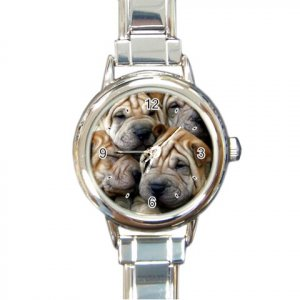 CHINESE SHAR PEI Dog Round Italian Charm Watch 14172859 PAEC