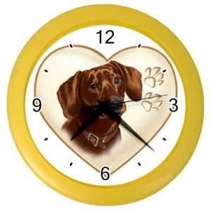 DACHSHUND Dog Pet Lover Wall Clock Yellow 26588093 PAEC