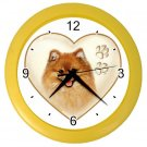 POMERANIAN Dog Pet Lover Wall Clock Yellow 26588100 PAEC