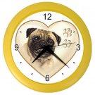 PUG Dog Pet Lover Wall Clock Yellow 26588113 PAEC