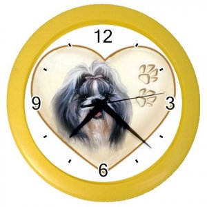 SHIH TZU Dog Pet Lover Wall Clock Yellow 26588118 PAEC