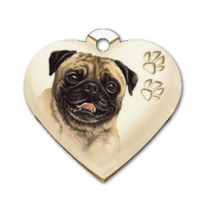 Heart Shape PUG Dog Tag or Necklace Jewelry or Pet Collar Tag 26588207 PAEC