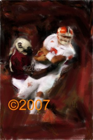 University of Clemson Tigers 4-0 Giclee, Art Print Football Charlie Whitehurst