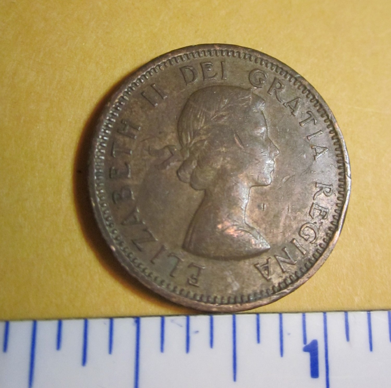 Canada 1955 1 Cent Copper One Canadian Penny ELIZABETH II
