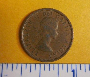 Canada 1957 1 Cent Copper One Canadian Penny ELIZABETH II