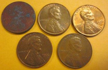 1976 Lincoln Memorial Penny 5 Pieces #13