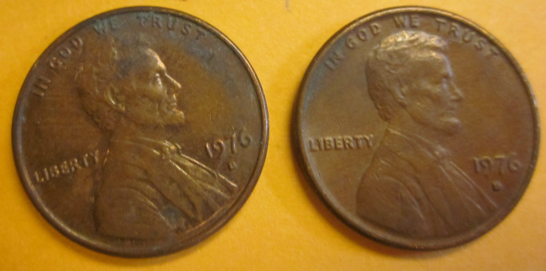 1976D Lincoln Memorial Penny 2 Pieces #5