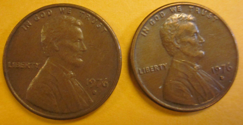 1976D Lincoln Memorial Penny 2 Pieces #8