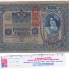 1902 Austria 1000 Kronen Red Overprint Vintage Money Banknote Currency