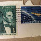 USED Vintage $0.04 Stamp Project Mercury U.S. Man In Space & a Pres Lincoln 1 cent stamp.