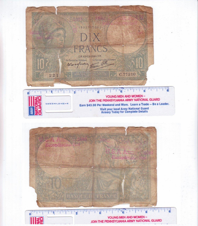 France  Bank Note of 10 Francs Minerve 1940