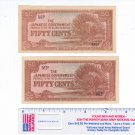 2 Japanese Government World War II currency Fifty 50 Cents CRISP condition