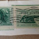 USED Fort Sumter 1st Fighting Civil War SC 4 Cent Stamp & 2 Andrew Jackson 1 Cent