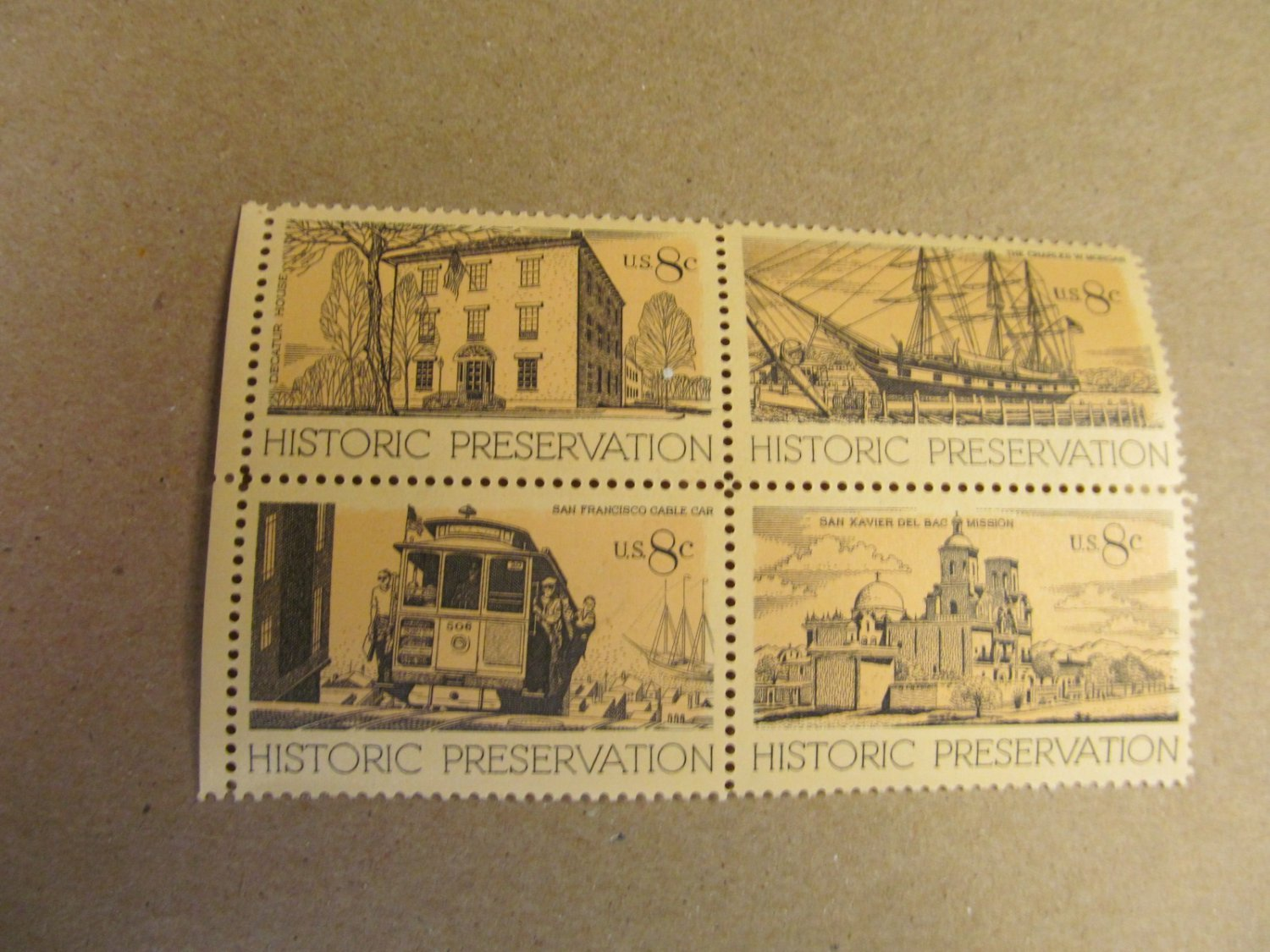 8 cent Historic Preservation Stamps 4 pieces Lot #1