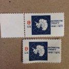 2 us 1431 Antarctic treaty 8c singles 1971