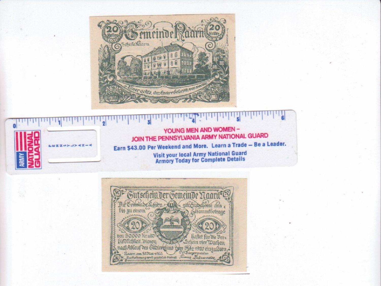 1920 AUSTRIA 20 GUTICHEIN HELLER PAPER NOTE