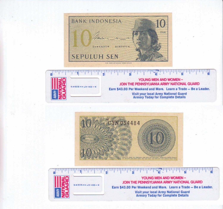 Bank of Indonesia 10 Sepulah Sen Bill 1964 Circulated #1