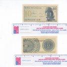 Bank of Indonesia 10 Sepulah Sen Bill 1964 Circulated #2