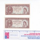 2 Government of Hong Kong Small Bank Notes 1 Cent Queen Elizabeth