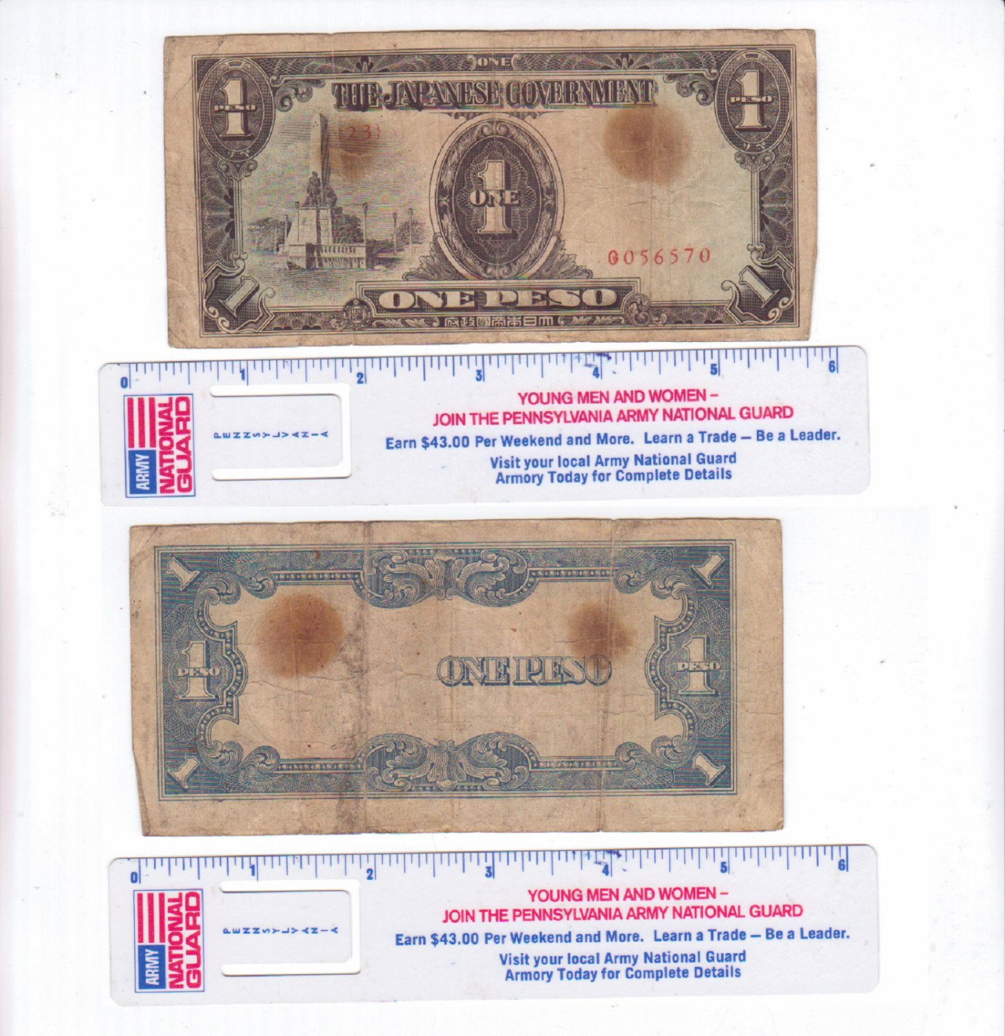 The Japanese Government WW2 One Peso Occupation Notes