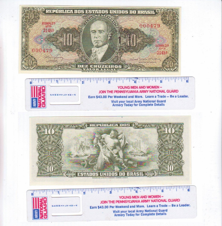 Brazil 10 Ten Cruzeiros Paper Money WWII Brasil Currency Banknote