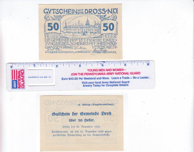 Austria 1920 50 Heller Gutschein Der GMD Dross Bank Note