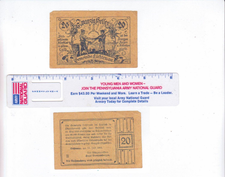 Austria 1920 20 Zwanzig Heller Germeinde Lichtenau Bank Note