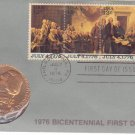 1976 Bicentennial First Day Cover Commemorative Medal & Stamps