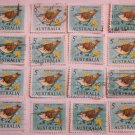 STAMPS AUSTRALIA 16 PIECES YELLOW TAILED THORNBILL CANCELED