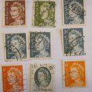 STAMPS  AUSTRALIA 9 PIECES PERFORATED & CANCELED