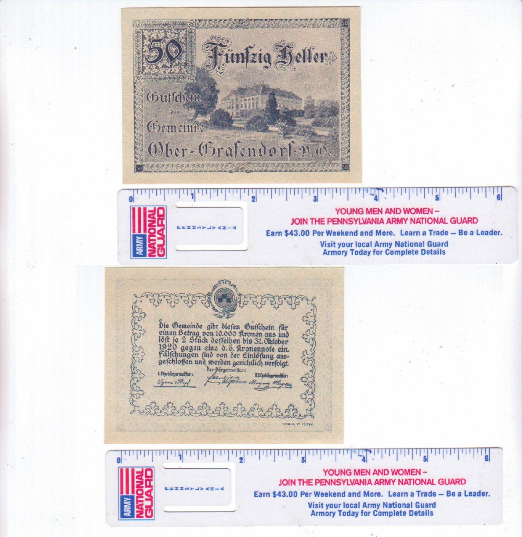 1920 AUSTRIA 50 GUTICHEIN HELLER PAPER BANK NOTE
