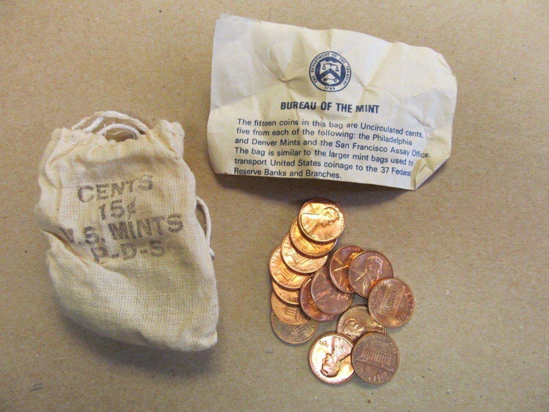 1973 PDS souvenir Mint Visit Penny Bag 5P 5D 5S US Mint 15 Coins Total Lot 4