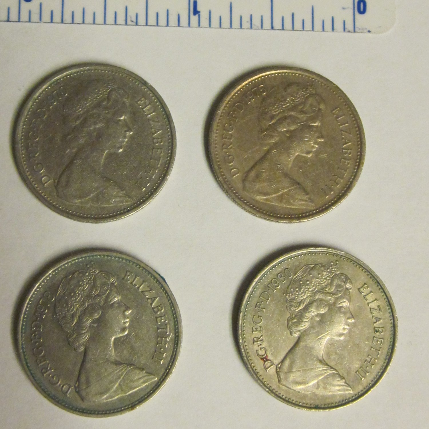 1 each 1970, 1975, 1978, 1980 UK British 5 Five New Pence Collectible Coins