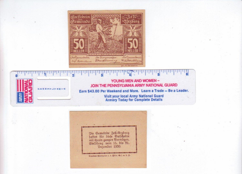 AUSTRIA 50 HELLER GUTSCHEIN DER GEMEINDE BANKNOTE 1920