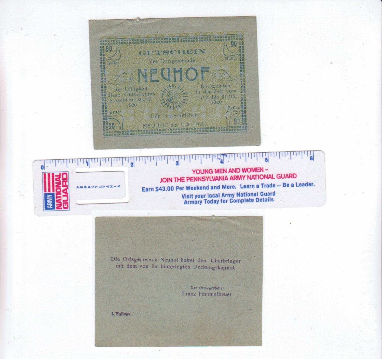 Austria 90 Heller Gutschein Der Orisgemeinde Neuhof 1920 Bank Note.