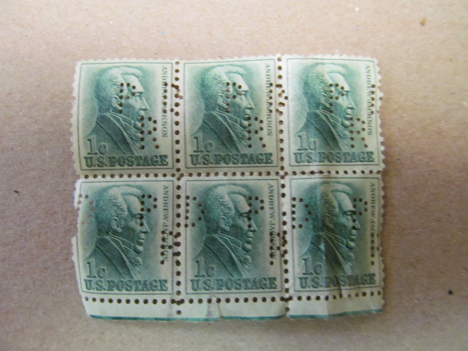 Andrew Jackson Perforated 1 cent 1963 US Stamp Scott #1225 6 Pieces