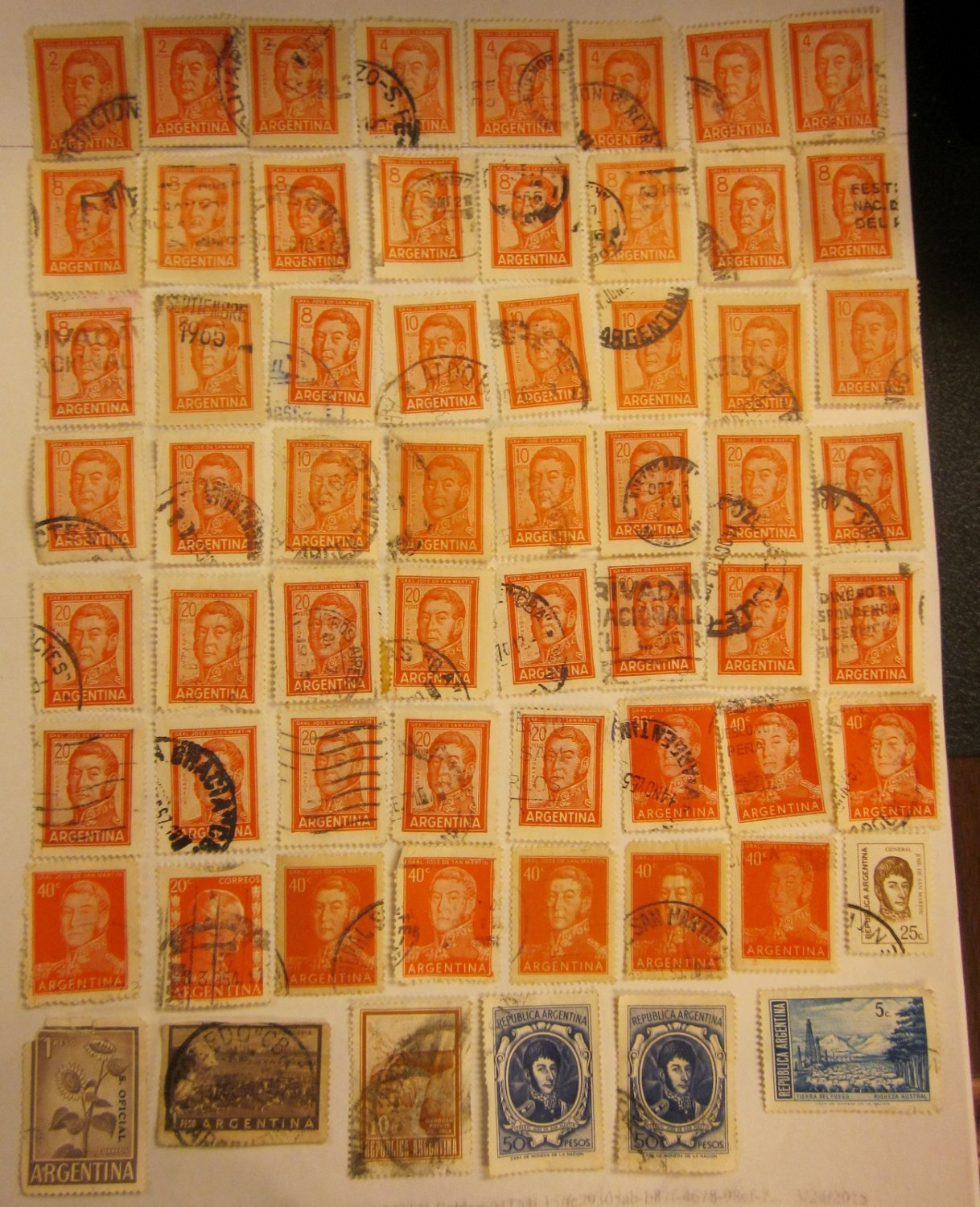 Argentina Assorted Cancelled Stamps 68 Pieces