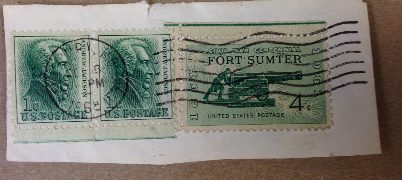 USED Fort Sumter 1st Fighting Civil War SC 4 Cent Stamp & 2 Andrew Jacks.