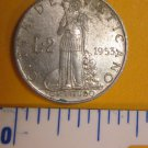 1953 XV Vatican City 2 Lire Pope Pius XII low mintage coin