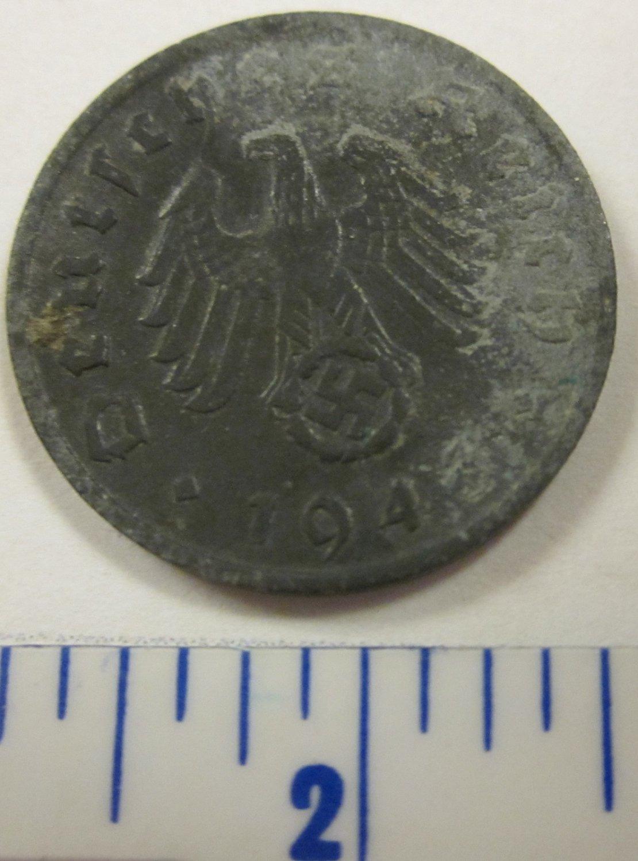 1943 D Germany Third Reich 1 Pfennig, with Swastika, Deutsches Reich